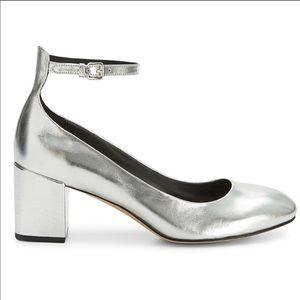 Rebecca minkoff silver block heels sz 9